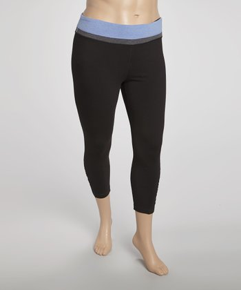 Lilac Tricolor Yoga Capri Pants - Plus