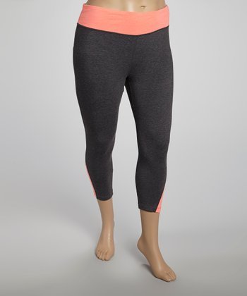Orange Color Block Yoga Capri Pants - Plus