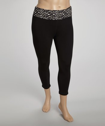 Black Abstract Animal Capri Pants - Plus