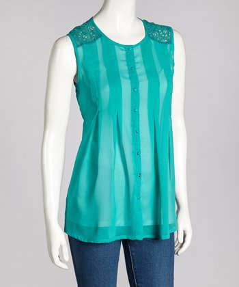 Emerald Lace-Back Sleeveless Top