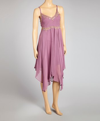 Mauve Embroidered V-Neck Dress