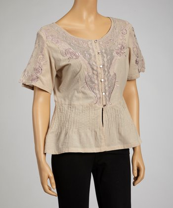 Taupe Embroidered Short-Sleeve Button-Up