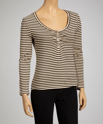 Black & Tan Stripe Henley