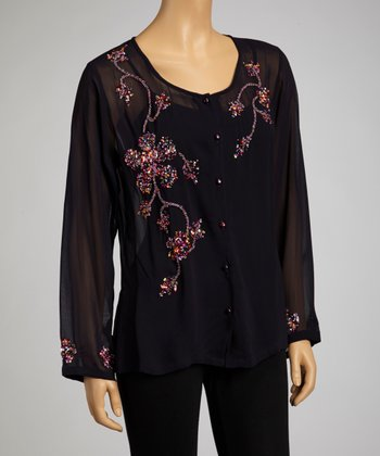 Black & Pink Embroidered Blouse