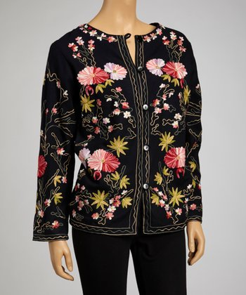 Black & Pink Floral Embroidered Cardigan