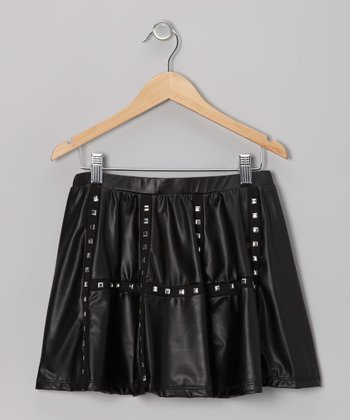 Black Studded Faux Leather Skirt