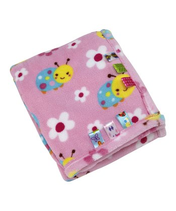 Pink Sweet as a Bug Fleece Receiving Blanket