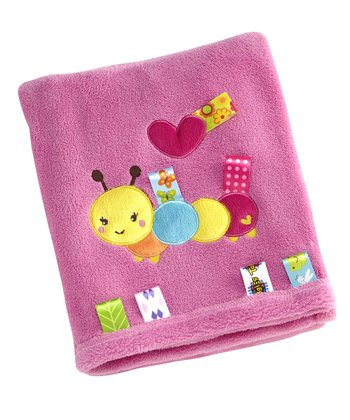 Pink Sweet as a Bug Appliqué Reverse Edge Receiving Blanket