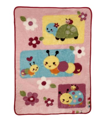 Pink Sweet as a Bug Luxury Plush Receiving Blanket