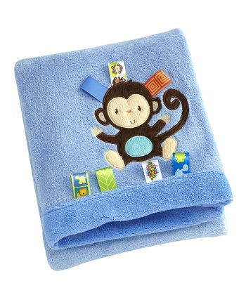Blue Fun in the Jungle Fleece Monkey Appliqué Receiving Blanket