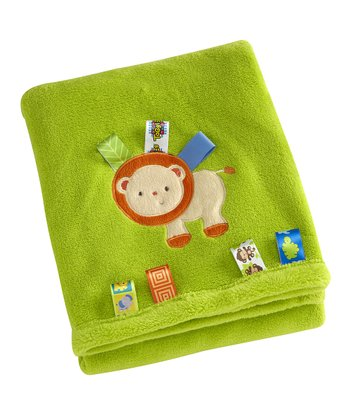 Green Fun in the Jungle Lion Fleece Receiving Blanket