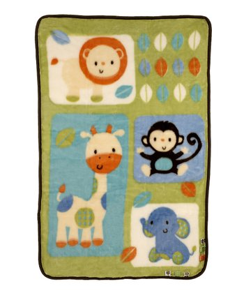 Green Fun in the Jungle Luxury Plush Receiving Blanket
