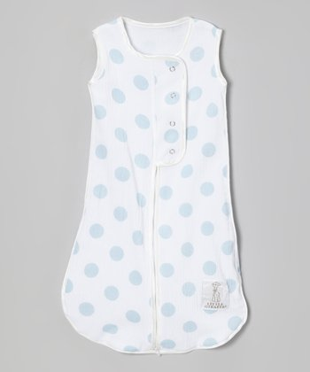 Blue Dot Muslin Sleeping Sack