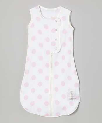 Pink Dot Muslin Sleeping Sack