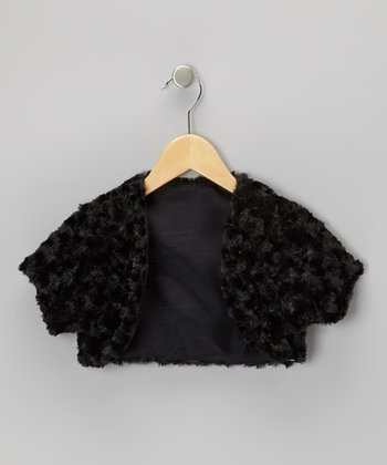 Black Minky Swirl Shrug - Girls