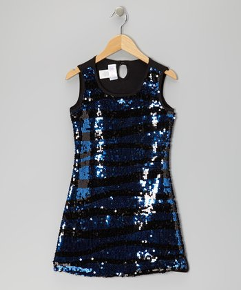 Blue Wave Stripe Sequin Dress - Girls