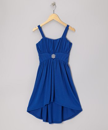 Royal Brooch Hi-Low Dress - Girls