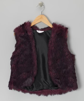 Purple Faux Fur Vest - Girls