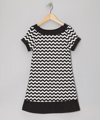 Black Zigzag Ponti Dress - Girls