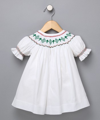 White & Red Diamond Bishop Dress - Infant & Toddler