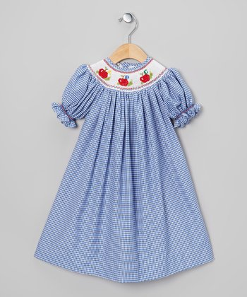 Blue & White Gingham Apple Bishop Dress - Toddler
