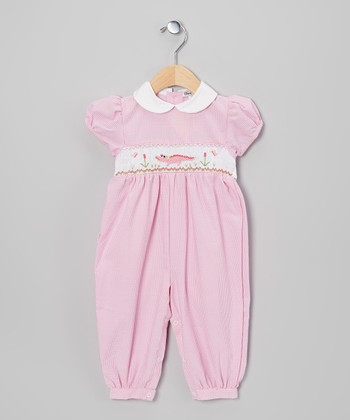 Pink Gingham Crocodile Romper - Infant