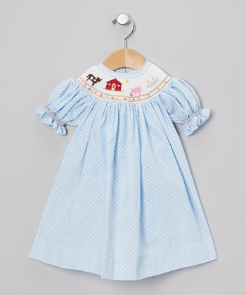 Blue & White Polka Dot Farm Bishop Dress - Infant & Toddler