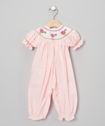 Pink & White Polka Dot Bird Playsuit - Infant