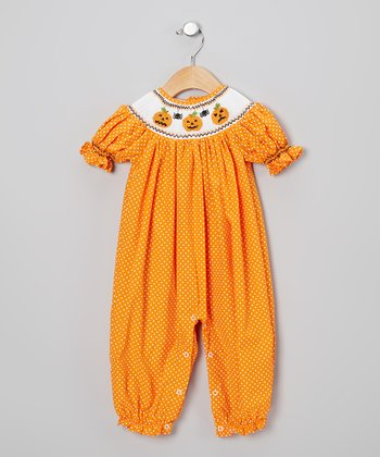 Orange & White Polka Dot Jack-o'-Lantern Romper - Infant