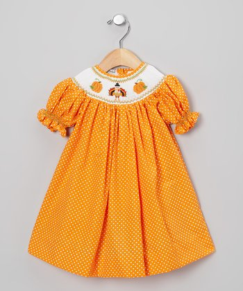 Orange & White Polka Dot Turkey Bishop Dress - Infant & Toddler