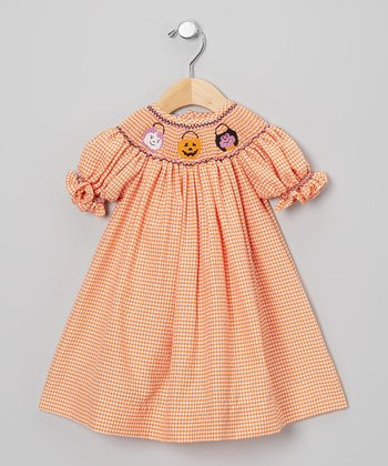 Orange & White Gingham Halloween Bishop Dress - Infant & Toddler