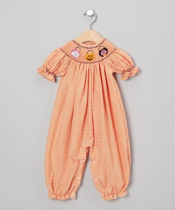Orange & White Gingham Halloween Romper - Infant & Toddler
