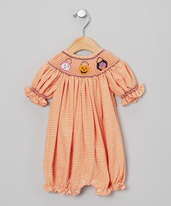 Orange & White Gingham Halloween Bubble Romper - Infant