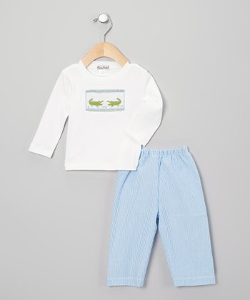 White & Blue Crocodile Tee & Pants - Toddler