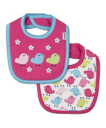 Pink Chirpy Chick Bib Set