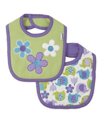 Green Flower & Purple Elephant Bib Set