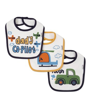 Navy & Yellow Transportation Bibs Set