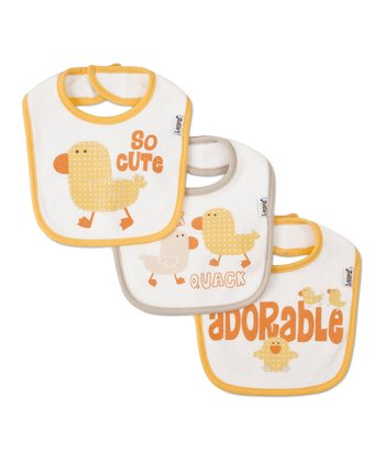 Yellow 'So Cute' & Tan 'Quack' Bib Set