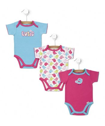 Blue 'Cutie' & Pink Chirpy Chick Bodysuit Set