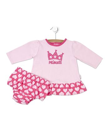 Pink 'Princess' Heart Dress & Diaper Cover