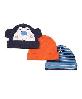 Navy Monkey, Orange & Blue Stripe Beanies Set