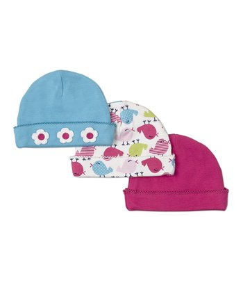 Blue Flower, White Chirpy Chick & Pink Beanies Set
