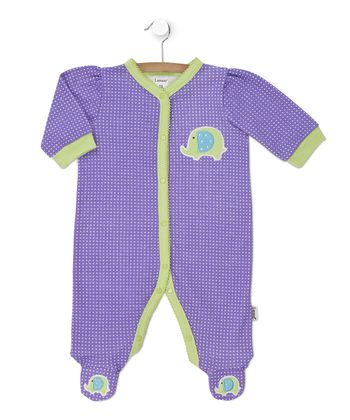 Purple Polka Dot & Lime Elephant Footie