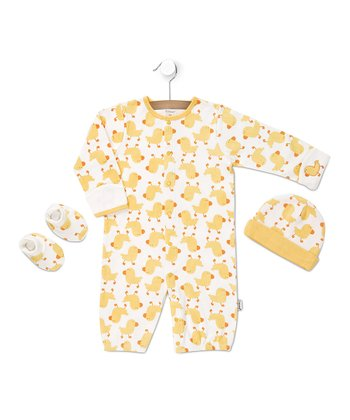 White & Yellow Ducky Convertible Gown Set