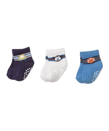Navy Car, White Monkey & Blue Football Socks Set
