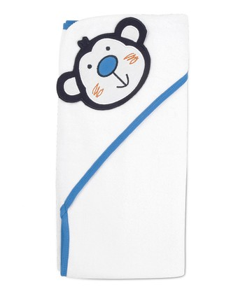 White & Blue Monkey Hooded Towel