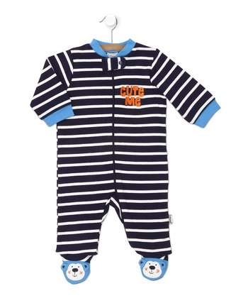 Navy Stripe 'Cute Me' Footie