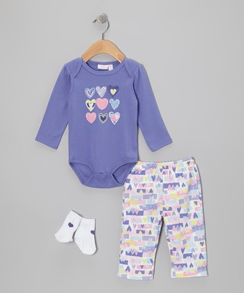 Purple Heart Bodysuit Set