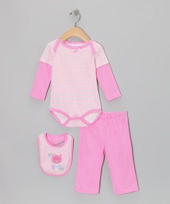 Pink Kitty Layered Bodysuit Set