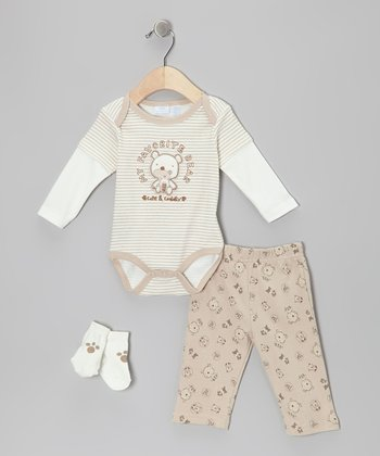 Tan 'Favorite Bear' Layered Bodysuit Set